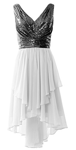 Straps Low Neck Chiffon Gown Dress Prom Women V White Black MACloth Party High Sequin Formal q5SHn