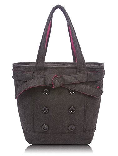 Overbrooke Womens Felt Laptop Tote, Black - Shoulder Bag for Laptops up to 15.6 Inches ()