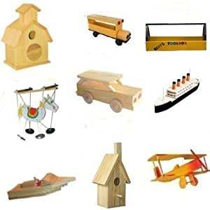 9 assorted wood craft kits for kids toys games