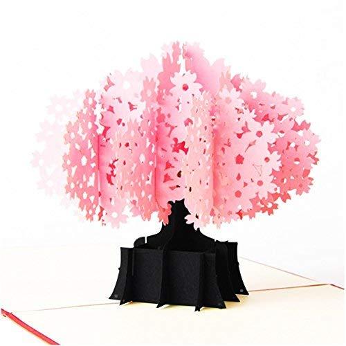 Christmas 3D Pop Up Cards, Romantic Cherry Blossom Gift, Wedding Greeting Cards (Cherry Blossom -