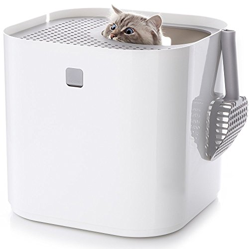 Modkat Top Entry Litter Box - All-in-one Cat Litter Solution - Easy to Clean - Reduces Cat Litter Tracking and Odors - Includes Scoop and Reusable Liner - White
