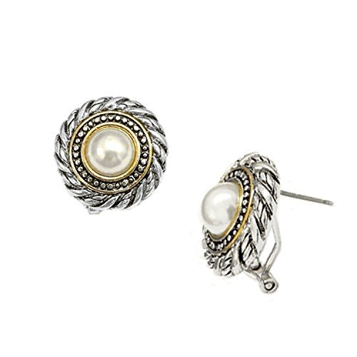 Jewelry11® Women's Fashion Glass Pearl Accent w/ Clear Rhinestone Two-Tone Cable Earrings Gift For Her