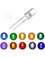 MCIGICM 5mm LED Light Diodes, 10 Colors x 12 Pcs White/Red/Green/Blue/Yellow/Orange/Pink/UV/Warm-White/Yellow-Green LED Circuit Assorted Kit for Science Project Experiment
