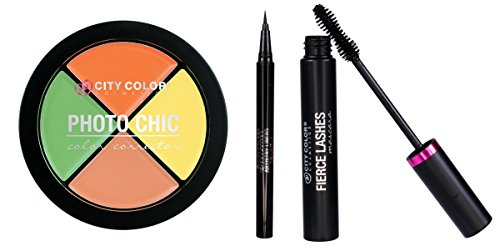 City Color- Essentials Pack (Eyeliner, Mascara, Color Correction Wheel)