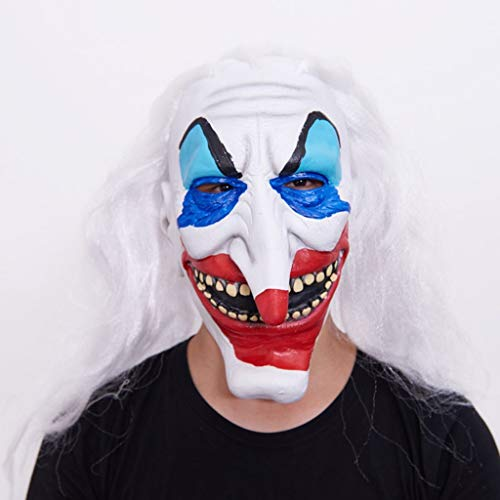 JSFQ Clown Mask with Long Hair Novelty Halloween Costume Party Latex Head Mask Realistic Face (Color : ()