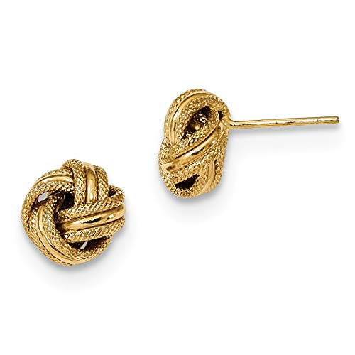 14k Polished Textured Triple Love Knot Earrings In 14k Yellow Gold