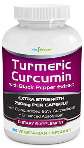 Turmeric Curcumin Complex with Black Pepper Extract - 750mg per Capsule, 180 Veg. Caps - Contains Piperine (for Superior Absorption and Tumeric Bio-Availability) and 95% Standardized Curcuminoids ()