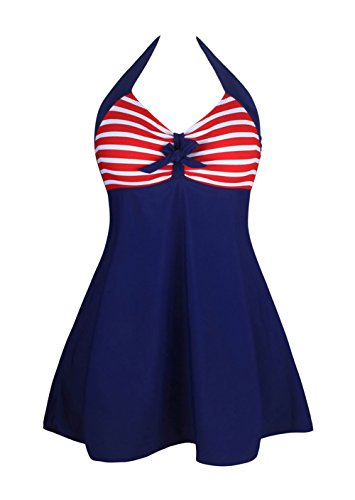 YeeATZ One-piece Swimdress(RedtripesNavy ,M) (Lakers Cheerleading Outfit)