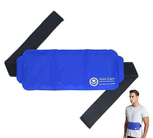 Koo-Care Large Ice Pack Gel Hot Cold Therapy Pack - Wraps Around Shoulder, Waist & Lower Back, Belly, Thigh, Knee, Shin, Ankle - Great for Injury, Sprain, Bruise - 15 x 5.9