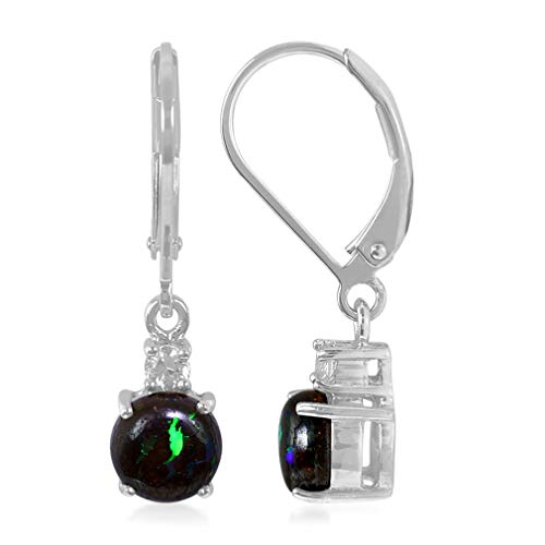 1.5 CTW Natural BOULDER OPAL & WHITE SAPPHIRE 925 Sterling Silver Dangle Leverback Earrings