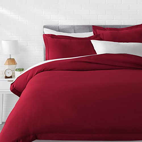 AmazonBasics Microfiber Duvet Cover Set - Lightweight and Soft - Full/Queen, - Cover Burgundy