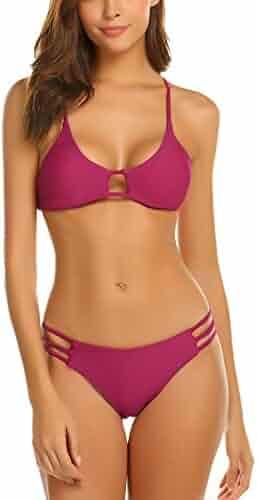 853d9ab2877bb Avidlove Sexy Bikini Set Womens Print Triangle Top Tie Side Bottom Bikini  Swimsuit (FBA)