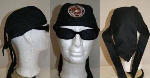 Black USMC Marines Marine Corps Do Rag Doo Rag Skull Cap Head Wrap ()