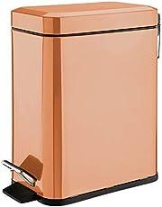 mDesign 5 Liter Rectangular Small Steel Step Trash Can Wastebasket, Garbage Container Bin for Bathroom, Powder Room, Bedroom, Kitchen, Craft Room, Office - Removable Liner Bucket