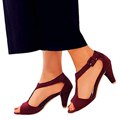 Lurryly Women's Stilettos Open Toe Pump Heel Sandals Buckle Sandals Fish Mouth Shoes