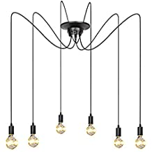 ZHMA Antique Classic Pandent Lights, Ajustable DIY Ceiling Spider Light E27, Rustic Chandelier, Industrial Hanging Light Dining Hall Bedroom Hotel Decoration, 6 Arms(Each with 1.7m Wire)