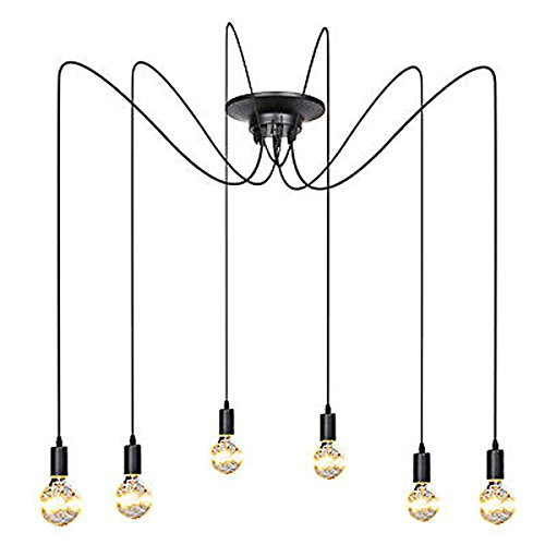 ZHMA Antique Classic Pandent lights, Ajustable DIY Ceiling Spider Light E27, Rustic Chandelier, Industrial Hanging light Dining Hall Bedroom Hotel Decoration, 6 Arms(each with 1.7m (Rustic Ceiling Fixtures)