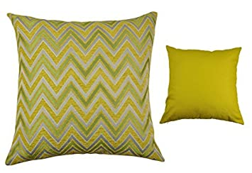 Chic Home Lizzy Luxury Decorative Square Pillows, Yellow Green Grey, 18 by 18-Inch, Set of 2