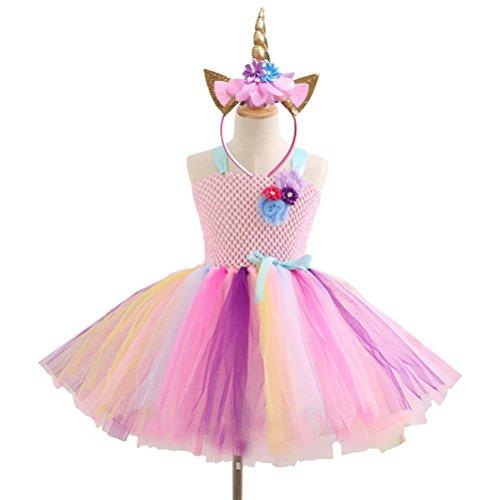 Museya Girls Rainbow Tutu Dress Unicorn Horn Headband with Cat Ears and Flowers Girls Unicorn Costume Cosplay Set Age:6-7 (Pink) -