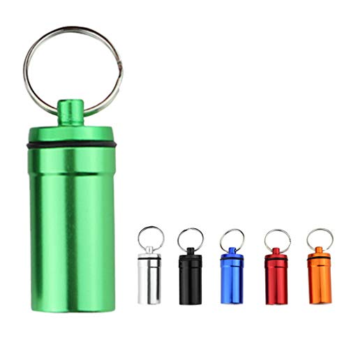NATFUR 6 Pack Waterproof Aluminum Medicine Pill Case Box Bottle Container Key Chain Pretty Novelty Key-Chain for Women Cute for Men Holder Perfect Pretty Novelty]()
