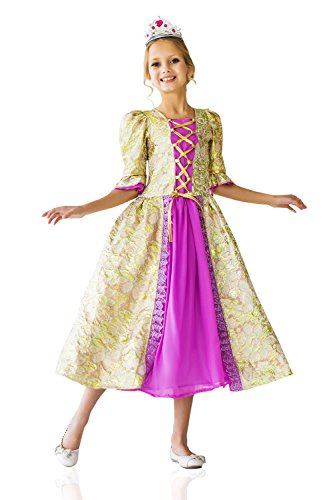 Kids Girls Costume Enchanted Storybook Princess Magic Fairy Tale Party Dress Up (8-11 years, Purple/Gold)