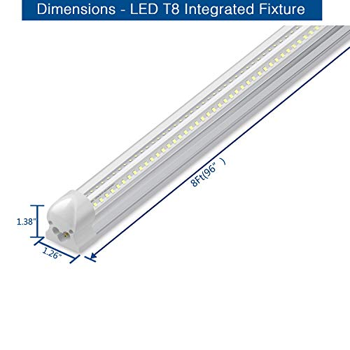 8Ft LED Shop Light, 72W, 7500LM, 6500K, T8 V-Shape Integrated Tube Light Fixture, Hight Output, Brighter White, LED Tube Light for Garage, Warehouse, Plug and Play (Pack of 5) by LECLSTAR (Image #2)