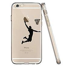 iPhone 5S Case,iPhone SE Case,iPhone 5 Case,LEECO Painted Transparent TPU Soft Back Cover Case for Apple iPhone 5 / 5S / SE (Boys Basketball,Black)