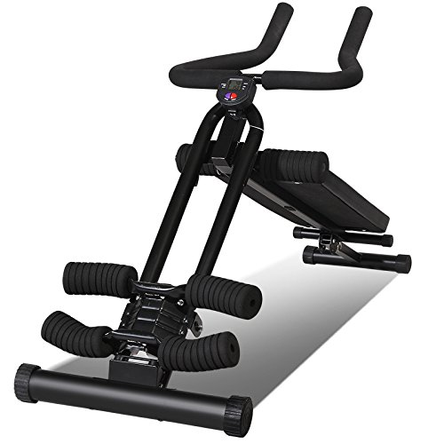 Egymcom Adjustable Floding 2 in 1 Sit-up Abdominal Decline Bench and Ab Cruncher Roman Chair w/ Elastic Rope Home Back Workout Gym by egymcom