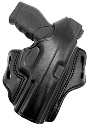 HOLSTERMART USA TAGUA Right Hand Black Leather Thumb Break OWB Belt Holster for FN FNH Five Seven