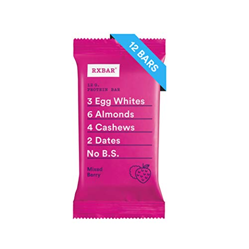 - RXBAR, Mixed Berry, Protein Bar, 1.83 Ounce (Pack of 12) Breakfast Bar, High Protein Snack