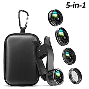 Phone Camera Lens, 5 in 1 Cell Phone Camera Lens 0.5x Wide Angle Lens+15x Macro Lenses +230° Fisheye Lens +CPL +Star Lens Compatible for iPhone x 8 7 6 6s plus Samsung Huawei Android Smartphone
