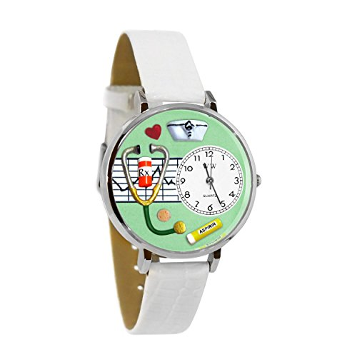 Whimsical Watches Women's U0620041 Unisex Silver Nurse Green White Skin Leather And Silvertone Watch (Leather Silver Green)