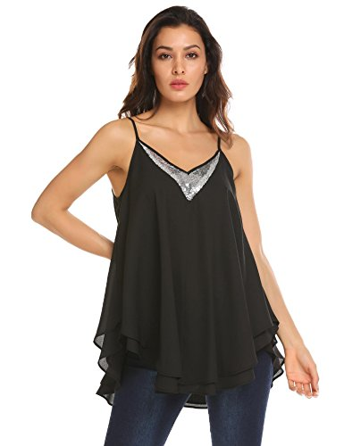 Concep Women's Tank Top Pleated Sequin V Neck Loose Flowy Double Layered Cami Shirt (Black ()