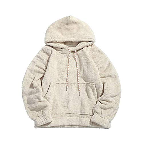 Men Casual Fluffy Soft Teddy Warm Hoodie with Kangaroo Pocket Long Sleeve Pullover Sweatshirt Outwear (Medium)