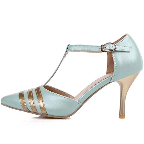 Strap Blue LongFengMa Pointed Ladies Sandals High T Dress Heel Toe zURIq