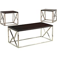 HOMES: Inside + Out ioHOMES Crossed Belin 3 Piece Table Set, Espresso