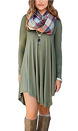 MOLERANI Women's Solid Long Sleeve Casual Loose T-Shirt Dress (S, Army Green)