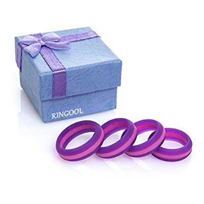 RINGOOL Silicone Wedding Ring for Women - Each Pack Contains 4 Rings Sizes Set (5,6,7,8) - Fashionable Pink and Purple Design - Great as a Finger Workout Band.
