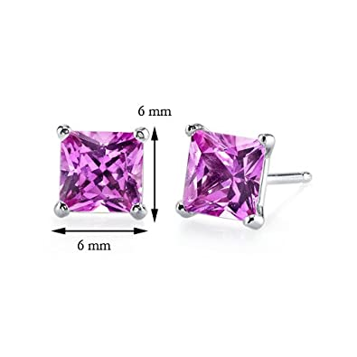 14 Karat White Gold Princess Cut 3.00 Carats Created Pink Sapphire Stud Earrings