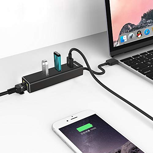TECKNET Aluminum 3-Port USB 3.0 Hub with RJ45 10/100/1000 Gigabit Ethernet Adapter Converter LAN Wired USB Network Adapter for Ultrabooks, Notebooks, Tablets and More