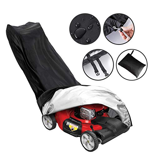 AILELAN Lawn Mower Cover, Premium Oxford Heavy Duty Push Mower Cover,Anti UV&Mildew&Dust&Water Universal Fit Size with Drawstring,Storage Bag and Buckle (210D, Black) - Premium Mower Lawn