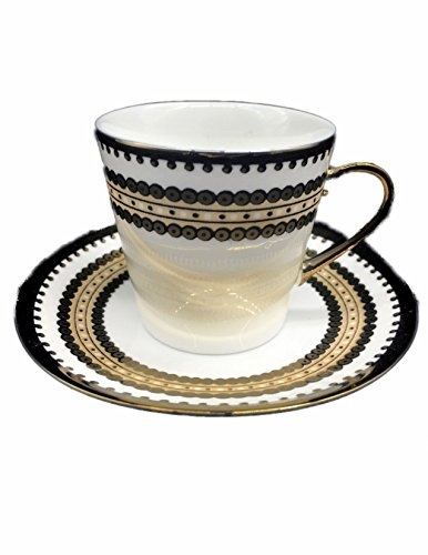 Demitasse Cup Saucer - Porcelain China Espresso Turkish Coffee Demitasse Set of 6 Cups + Saucers with Faux Finish Patterns (Gold Sequins Design)