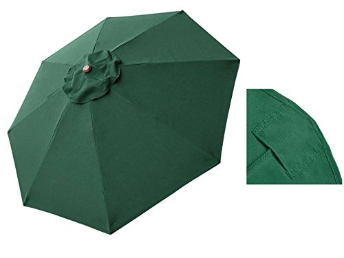 STARWORLD 10FT Durable Outdoor Waterproof Market Umbrella Replacement canopy top Cover 8 Rib Polyester UV protection Keep color anti-fade Green color
