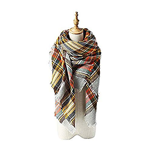 Echo Paths Women's Tassels Soft Plaid Tartan Scarf Winter Large Blanket Wrap Shawl L Beige