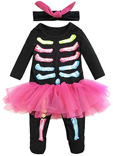 FANCYINN Infant Baby Girls Halloween Costume Infant Skeleton Tutu Romper with Headband 9-12M -