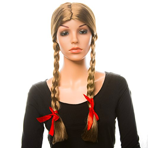 Women's Brown Braids Wig: Sexy Wig for Women Pigtail Wig Brown Hot Party Wigs for Women Girls Fun Sexy Brown Costume Wig Halloween Costume Brown Wig Braid Wig with Ribbons Bows -