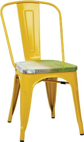 picture of Office Star Products BRW2910A4-C307 OSP Designs Bristow Yellow Metal Chair with Vintage Pine Alice Wood Seat (4-Pack)