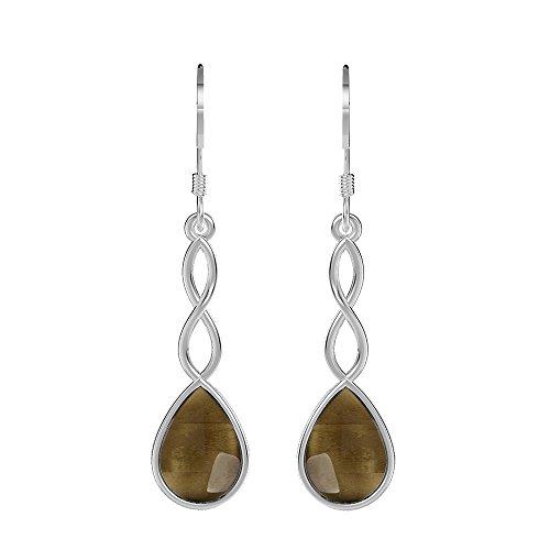 3.90ct, Genuine Cabochon Smoky Quartz & 925 Silver Plated Dangle Earrings (Cabochon Smoky Earrings)