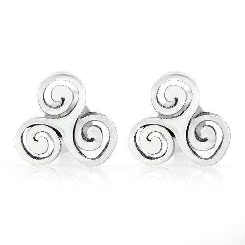 925 Sterling Silver Tiny Triple Spiral Triskele Triskelion Celtic Symbol 10 mm Post Stud Earrings Celtic Spiral Earrings