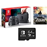 Nintendo Switch 3 items Game Bundle:Nintendo Switch 32GB Console Gray Joy-con,64GB Micro SD Memory Card and The Legend…